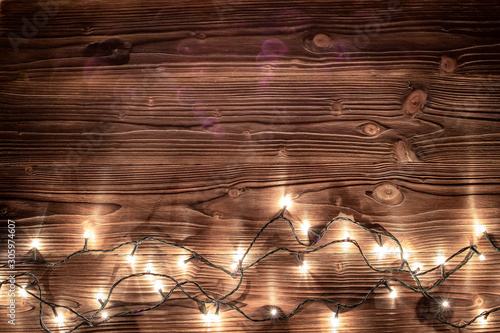 Fototapety, obrazy: Christmas lights background. Merry christmas background. Old wood texture. Vintage styles.