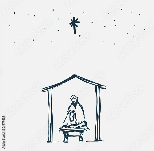 Photo Drawing, Bible Merry christmas scene of holy family. Vector