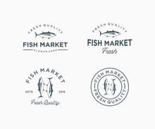 Set Of Fish Market Logo Design Vintage