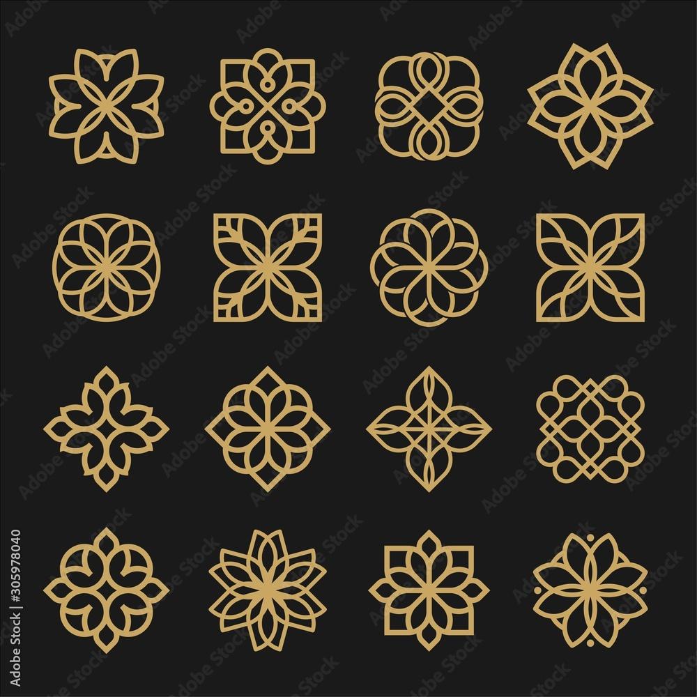 Fototapeta Set of ornament logo design. Flower arabic logo line black and gold