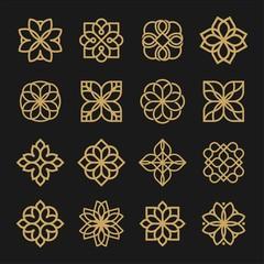 Set of ornament logo design. Flower arabic logo line black and gold