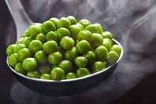 Green Peas In A Ladle With Ste...