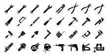 Tool Icon Set (Flat Silhouette...