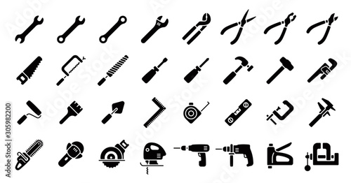 Tool Icon Set (Flat Silhouette Version) Canvas-taulu