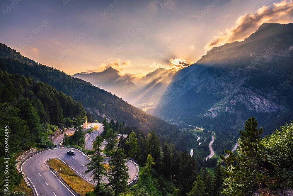 Fototapeta Maloja Pass road in Switzerland at sunset