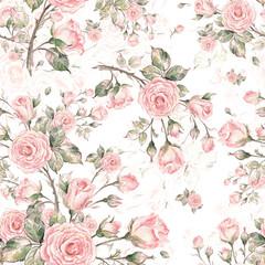 Fototapeta Do salonu kosmetycznego Watercolor Seamless Rose Pattern G.jpg