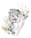 akwarela ilustracja moda. Rysunek - lew z liśćmi drzewa. Nadruk botaniczny i zwierzęcy na białym tle - 305987233