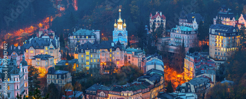 Valokuva View to Karlovy Vary city from above at sunset