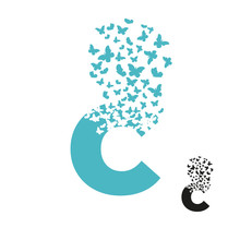 Letter C With Effect Of Destruction. Dispersion. Butterfly, Moth