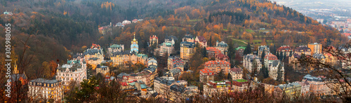 View to Karlovy Vary city from above at sunset Wallpaper Mural