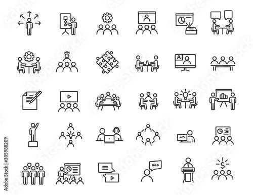 Fototapeta Set of linear business training icons. Workshop icons in simple design. Vector illustration obraz