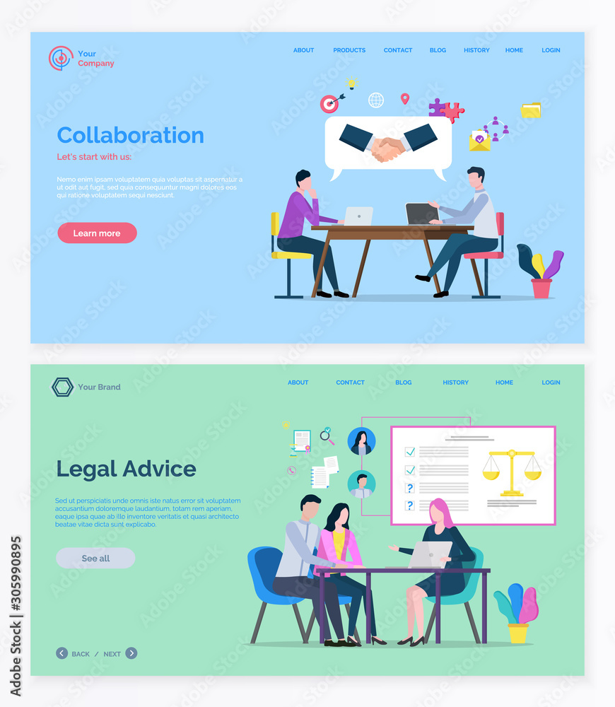 Fototapeta Teamwork collaboration and legal advice, man and woman consulting. Business success and lawyer service online, professional workers, company. Website and app slider template, landing page flat style