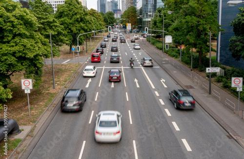 Fotografie, Obraz city traffic in frankfurt am main, germany