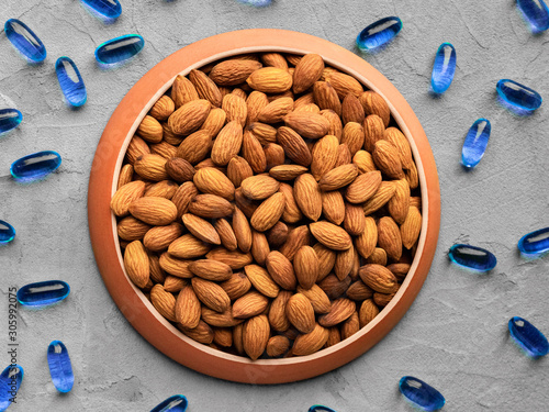 Photo organic food and chemical medicines, biologically active food supplement, almond