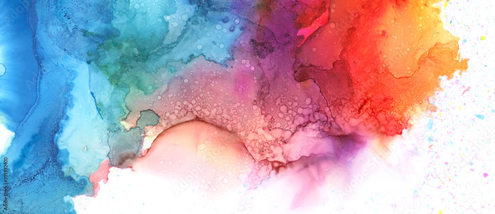 Fototapeta Art Abstract paint blots background. Alcohol ink blue colors. Marble texture. Horizontal long banner.