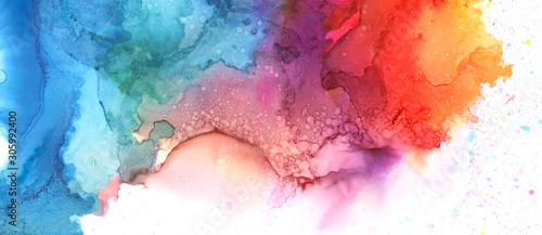 Art Abstract paint blots background. Alcohol ink blue colors. Marble texture. Horizontal long banner.