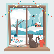 Winter Window, With A Cat, A Book And A Coffee Cup On The Sill. Cute Cozy Vector Illustration In Flat Style