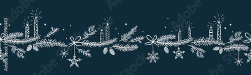 Fototapeten Künstlich Cute hand drawn horizontal seamless pattern with candles, branches and christmas decoration - x mas background, great for textiles, banners, wallpapers - vector design