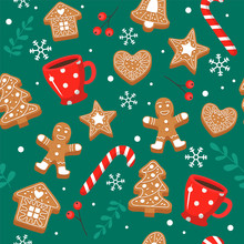 Gingerbread Pattern. Festive B...