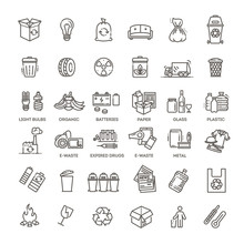 Garbage Vector Line Icons Set