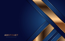 Modern Navy Blue Background With Astract Shape And Golden Lines.