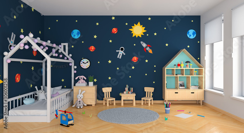 Blue child bedroom interior, 3D rendering - 306001258