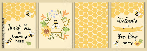 Photo Bee party template set Bee baby shower invitations Cute kids party event Sweet h