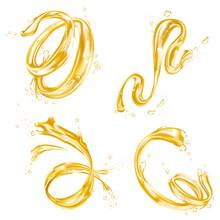 Yellow Liquid Splash Wave, Oil Or Juice Drops Flow