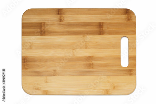 Photo  kitchen cutting Board made of bamboo on white background horizontal with oblong