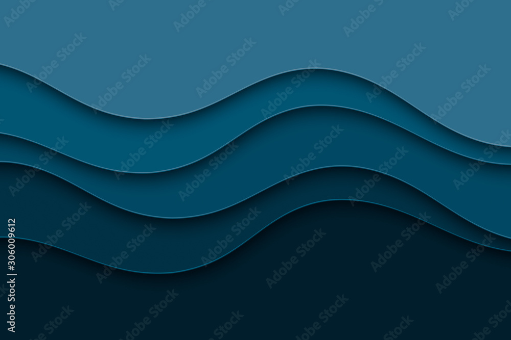 Fototapeta Abstract background with curve lines and waves. Paper cut water wallpaper.