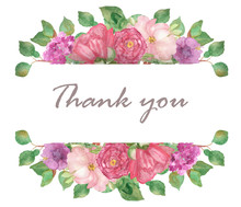 Watercolor Hand Painted Nature Floral Blossom Banner Frame With Green Creeper Leaves, Pink Peony And Purple Hibiscus Flowers On The White Background With Thank You Text For Greeting Cards