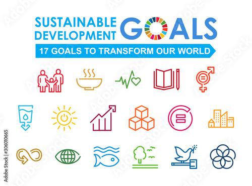 Obraz Corporate social responsibility sign. Sustainable Development Goals vector illustration. SDG signs. Pictogram for ad, web, mobile app, promo. - fototapety do salonu