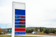 Petrol Station Price Sign Along A Highway On An Overcast Autumn Day