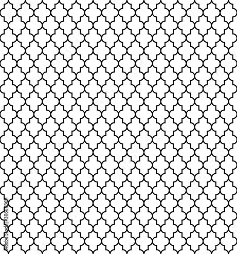 Photo  Arabic seamless pattern grid lantern shapes tiles.