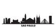 Brazil, Sao Paulo city skyline isolated vector illustration. Brazil, Sao Paulo travel cityscape with landmarks