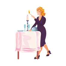 Cute Blonde Woman In The Purple Dress Lights A Candle For A Romantic Dinner. Vector Illustration In Flat Cartoon Style.