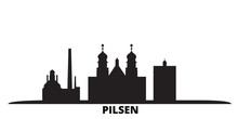 Czech Republic, Pilsen City Skyline Isolated Vector Illustration. Czech Republic, Pilsen Travel Cityscape With Landmarks