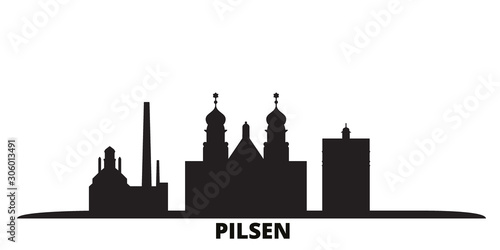 Czech Republic, Pilsen city skyline isolated vector illustration Canvas Print
