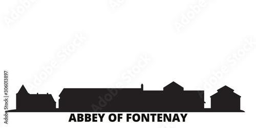 Photo France, Abbey Of Fontenay city skyline isolated vector illustration