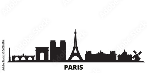 France, Paris city skyline isolated vector illustration. France, Paris travel cityscape with landmarks