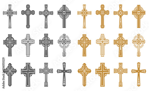 Obraz na plátně  Set of isolated black and yellow religion cross