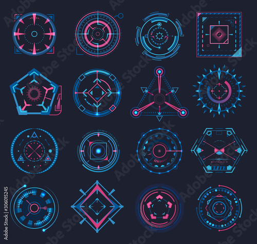 Set of isolated aim or game crosshair, target Wallpaper Mural