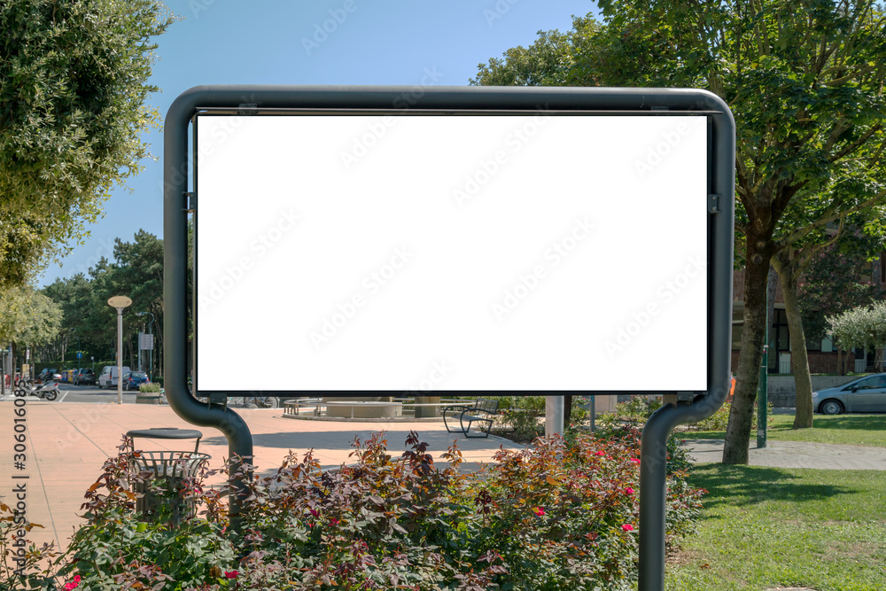 billboard with big white blank space for advertising in city park mock-up