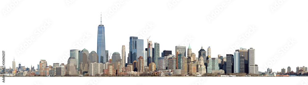 Fototapeta High resolution panoramic view of Lower Manhattan from the Ellis Island - isolated on white. Clipping path included.