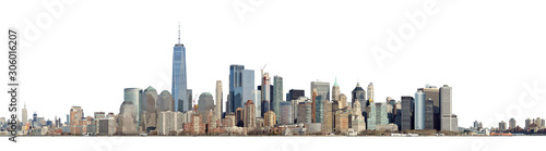 High resolution panoramic view of Lower Manhattan from the Ellis Island - isolated on white. Clipping path included. - 306016207