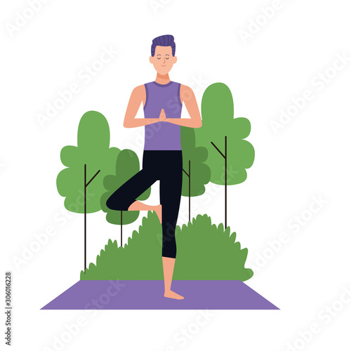 Cartoon Man Doing Yoga Tree Pose At Outdoors Buy This Stock Vector And Explore Similar Vectors At Adobe Stock Adobe Stock Choose from over a million free vectors, clipart graphics, vector art images, design templates, and illustrations created by artists worldwide! adobe stock