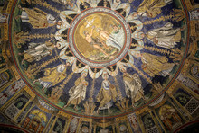The Ceiling Mosaic In The Baptistry Of Neon In Ravenna. Italy