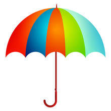 Cute Cartoon Umbrella Isolated On The White Background. Vector Illustration.
