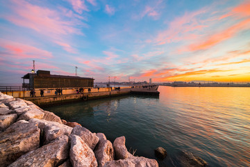 Winter sunset at Rimini Port.
