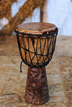 Ethnic Percussion Musical Instrument Djembe On The Stage